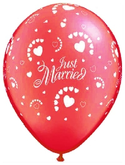 99981 Just Married Hearts-A-Round Red03